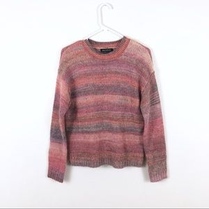 Something Navy Muted Pink Striped Mohair Sweater